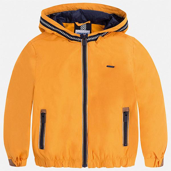 Куртка Mayoral для мальчикаВерхняя одежда<br>Характеристики товара:<br><br>• цвет: оранжевый<br>• состав ткани: 100% полиэстер<br>• подкладка: 100% хлопок<br>• утеплитель: нет<br>• сезон: демисезон<br>• особенности куртки: с капюшоном, спортивный стиль<br>• застежка: молния<br>• страна бренда: Испания<br>• неповторимый стиль Mayoral<br><br>Яркая детская куртка подойдет для прохладной или переменной погоды. Легкая куртка для детей от популярного бренда Mayoral - стильная и удобная вещь. Детская куртка сшита из приятного на ощупь материала. Куртка для мальчика Mayoral дополнена манжетами и карманами.<br><br>Куртку Mayoral (Майорал) для мальчика можно купить в нашем интернет-магазине.<br>Ширина мм: 356; Глубина мм: 10; Высота мм: 245; Вес г: 519; Цвет: желтый; Возраст от месяцев: 18; Возраст до месяцев: 24; Пол: Мужской; Возраст: Детский; Размер: 92,134,128,122,116,110,104,98; SKU: 7543055;