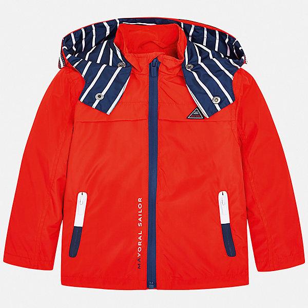 Куртка Mayoral для мальчикаВерхняя одежда<br>Характеристики товара:<br><br>• цвет: красный<br>• состав ткани: 100% полиэстер<br>• подкладка: 60% хлопок, 40% полиэстер<br>• утеплитель: нет<br>• сезон: демисезон<br>• особенности куртки: с капюшоном, спортивный стиль<br>• застежка: молния<br>• страна бренда: Испания<br>• неповторимый стиль Mayoral<br><br>Детская ветровка сделана из качественного материала. Куртка для мальчика отличается современным продуманным дизайном. В детской куртке есть подкладка, модель дополнена мягкими манжетами и капюшоном.<br><br>Куртку Mayoral (Майорал) для мальчика можно купить в нашем интернет-магазине.<br>Ширина мм: 356; Глубина мм: 10; Высота мм: 245; Вес г: 519; Цвет: бордовый; Возраст от месяцев: 84; Возраст до месяцев: 96; Пол: Мужской; Возраст: Детский; Размер: 128,122,116,110,104,98,92,134; SKU: 7543073;