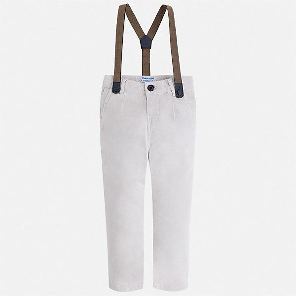 Полукомбинезон MayoralБрюки<br>Характеристики товара:<br><br><br>• комплектация: брюки, подтяжки<br>• состав ткани: 98% хлопок, 2% эластан<br>• сезон: демисезон<br>• шлевки<br>• регулируемая талия<br>• застежка: пуговица<br>• страна бренда: Испания<br>• неповторимый стиль Mayoral<br><br>Эффектный полукомбинезон сшит из дышащего приятного на ощупь материала. Благодаря преобладанию в его составе натурального хлопка материал  создает комфортные условия для тела. Полукомбинезон для мальчика отличается стильным дизайном и подтяжками в комплекте.
