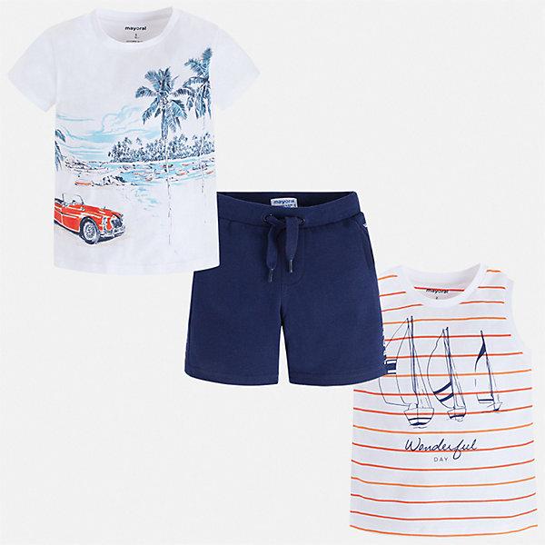 Купить Комплект: футболка, майка и шорты Mayoral для мальчика, Индия, синий, 92, 98, 134, 128, 122, 116, 110, 104, Мужской