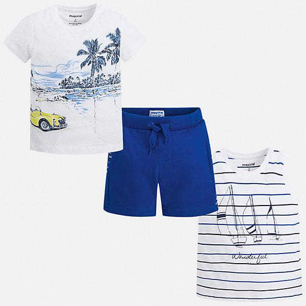 Комплект:боди,футболка,ползунки Mayoral для мальчикаКомплекты<br>Характеристики товара:<br><br>• цвет: белый, синий<br>• комплектация: шорты, футболка, майка<br>• состав ткани: 100% хлопок<br>• сезон: лето<br>• особенности модели: спортивный стиль<br>• пояс: резинка, шнурок<br>• короткие рукава<br>• страна бренда: Испания<br>• неповторимый стиль Mayoral<br><br>Стильный комплект - футболка с принтом, майка и шорты для мальчика от Майорал - отлично сочетается между собой, а также с другими вещами. В этом детском наборе - сразу три модные вещи. В футболке, майке и шортах для мальчика от испанской компании Майорал ребенок будет выглядеть модно, а чувствовать себя - удобно. <br><br>Комплект: шорты, футболка, майка Mayoral (Майорал) для мальчика можно купить в нашем интернет-магазине.<br>Ширина мм: 157; Глубина мм: 13; Высота мм: 119; Вес г: 200; Цвет: разноцветный; Возраст от месяцев: 72; Возраст до месяцев: 84; Пол: Мужской; Возраст: Детский; Размер: 122,116,110,104,98,92,134,128; SKU: 7543343;