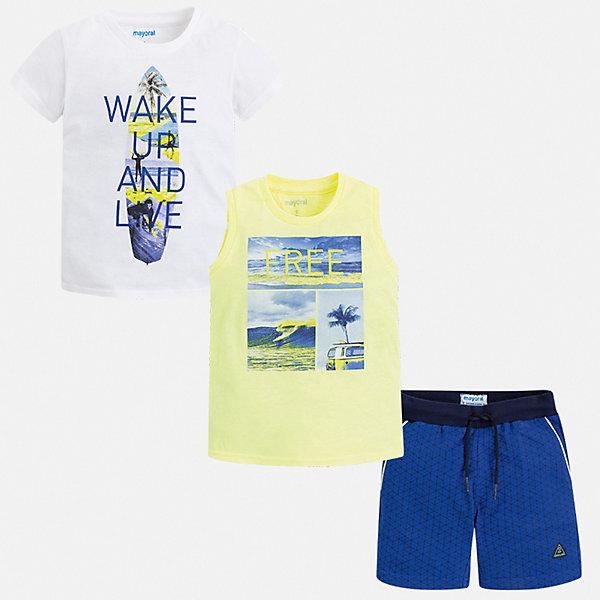 Комплект Mayoral для мальчикаКомплекты<br>Характеристики товара:<br><br>• цвет: белый, синий<br>• комплектация: шорты, футболка, майка<br>• состав ткани: 100% хлопок<br>• сезон: лето<br>• особенности модели: спортивный стиль<br>• пояс: резинка, шнурок<br>• короткие рукава<br>• страна бренда: Испания<br>• неповторимый стиль Mayoral<br><br>В летнем комплекте для мальчика от испанской компании Майорал ребенок сможет чувствовать комфорт на протяжении всего дня. Эти футболка, майка и шорты для мальчика от Майорал помогут обеспечить ребенку комфорт в жаркое время года. В этом детском комплекте - сразу три стильные вещи. <br><br>Комплект: шорты, футболка, майка Mayoral (Майорал) для мальчика можно купить в нашем интернет-магазине.<br>Ширина мм: 215; Глубина мм: 88; Высота мм: 191; Вес г: 336; Цвет: желтый; Возраст от месяцев: 84; Возраст до месяцев: 96; Пол: Мужской; Возраст: Детский; Размер: 128,134,122,116,110,104,98,92; SKU: 7543424;