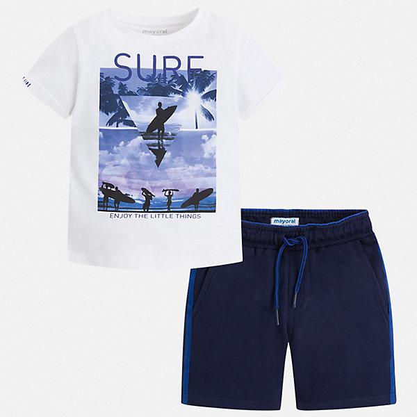 Комплект:Футболка,шорты Mayoral для мальчикаКомплекты<br>Характеристики товара:<br><br>• цвет: белый, синий<br>• комплектация: шорты, футболка<br>• состав ткани: 100% хлопок<br>• сезон: лето<br>• особенности модели: спортивный стиль<br>• пояс: резинка, шнурок<br>• короткие рукава<br>• страна бренда: Испания<br>• неповторимый стиль Mayoral<br><br>Стильные легкие футболка и шорты для мальчика от Майорал - отличный комплект для жаркого времени года. В этом детском комплекте - сразу две качественные и модные вещи. В футболке и шортах для мальчика от испанской компании Майорал ребенок будет чувствовать себя удобно благодаря высокому качеству материала и швов. <br><br>Комплект Mayoral (Майорал) для мальчика можно купить в нашем интернет-магазине.<br>Ширина мм: 230; Глубина мм: 40; Высота мм: 220; Вес г: 250; Цвет: синий; Возраст от месяцев: 36; Возраст до месяцев: 48; Пол: Мужской; Возраст: Детский; Размер: 104,98,92,134,128,122,116,110; SKU: 7543460;