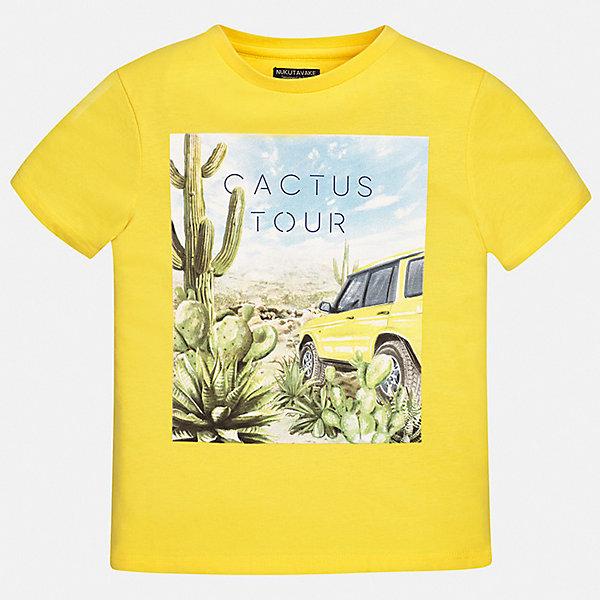 Футболка Mayoral для мальчикаФутболки, поло и топы<br>Характеристики товара:<br><br>• цвет: желтый<br>• состав ткани: 100% хлопок<br>• сезон: лето<br>• короткие рукава<br>• страна бренда: Испания<br>• неповторимый стиль Mayoral<br><br>Желтая футболка для мальчика отличается модным дизайном. Комфортная детская футболка с коротким рукавом украшена эффектным принтом от ведущих дизайнеров испанского бренда Mayoral. Края детской футболки обработаны мягкими швами. <br><br>Футболку Mayoral (Майорал) для мальчика можно купить в нашем интернет-магазине.<br>Ширина мм: 199; Глубина мм: 10; Высота мм: 161; Вес г: 151; Цвет: желтый; Возраст от месяцев: 96; Возраст до месяцев: 108; Пол: Мужской; Возраст: Детский; Размер: 128/134,170,164,158,152,140; SKU: 7543707;