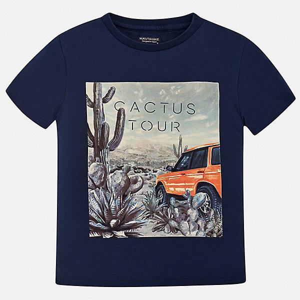 Футболка Mayoral для мальчикаФутболки, поло и топы<br>Характеристики товара:<br><br>• цвет: синий<br>• состав ткани: 100% хлопок<br>• сезон: лето<br>• короткие рукава<br>• страна бренда: Испания<br>• неповторимый стиль Mayoral<br><br>Стильная хлопковая футболка для мальчика от Майорал поможет обеспечить ребенку комфорт. В футболке для мальчика от испанской компании Майорал ребенок будет чувствовать себя удобно благодаря качественным швам и натуральному материалу. Трикотажная детская футболка отлично сочетается с различными брюками и шортами. <br><br>Футболку Mayoral (Майорал) для мальчика можно купить в нашем интернет-магазине.<br>Ширина мм: 199; Глубина мм: 10; Высота мм: 161; Вес г: 151; Цвет: синий; Возраст от месяцев: 96; Возраст до месяцев: 108; Пол: Мужской; Возраст: Детский; Размер: 128/134,170,164,158,152,140; SKU: 7543721;