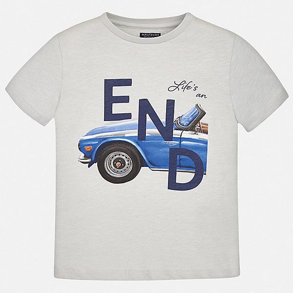Футболка Mayoral для мальчикаФутболки, поло и топы<br>Характеристики товара:<br><br>• цвет: серый<br>• состав ткани: 100% хлопок<br>• сезон: лето<br>• короткие рукава<br>• страна бренда: Испания<br>• неповторимый стиль Mayoral<br><br>Стильная футболка для мальчика создана дизайнерами бренда Mayoral с учетом потребностей детей. Края детской футболки обработаны мягкими швами. Эта детская футболка с коротким рукавом украшена эффектным принтом от ведущих дизайнеров испанского бренда Mayoral. <br><br>Футболку Mayoral (Майорал) для мальчика можно купить в нашем интернет-магазине.<br>Ширина мм: 199; Глубина мм: 10; Высота мм: 161; Вес г: 151; Цвет: белый; Возраст от месяцев: 132; Возраст до месяцев: 144; Пол: Мужской; Возраст: Детский; Размер: 152,140,128/134,170,164,158; SKU: 7543931;