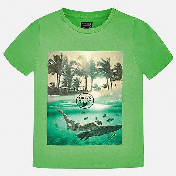 Футболка Mayoral для мальчикаФутболки, поло и топы<br>Характеристики товара:<br><br>• цвет: зеленый<br>• состав ткани: 100% хлопок<br>• сезон: лето<br>• короткие рукава<br>• страна бренда: Испания<br>• неповторимый стиль Mayoral<br><br>Оригинальная детская футболка сделана из натуральной трикотажной ткани, которая обеспечивает ребенку комфорт. Трикотажная футболка для мальчика от Mayoral - универсальная и комфортная базовая вещь для детского гардероба. Такая детская футболка поможет создать модный и удобный наряд для ребенка.<br><br>Футболку Mayoral (Майорал) для мальчика можно купить в нашем интернет-магазине.<br>Ширина мм: 199; Глубина мм: 10; Высота мм: 161; Вес г: 151; Цвет: зеленый; Возраст от месяцев: 96; Возраст до месяцев: 108; Пол: Мужской; Возраст: Детский; Размер: 128/134,170,164,158,152,140; SKU: 7544022;