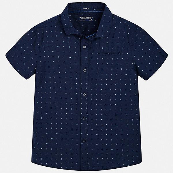 Рубашка Mayoral для мальчикаБлузки и рубашки<br>Характеристики товара:<br><br>• цвет: мульти<br>• состав ткани: 100% хлопок<br>• сезон: лето<br>• застежка: пуговицы<br>• короткие рукава<br>• страна бренда: Испания<br>• неповторимый стиль Mayoral<br><br>Хлопковая рубашка с коротким рукавом для мальчика отличается высоким качеством швов и материала. Такая детская рубашка сделана из дышащего приятного на ощупь материала. Благодаря качественному крою детской рубашки создаются комфортные условия для тела. <br><br>Рубашку Mayoral (Майорал) для мальчика можно купить в нашем интернет-магазине.<br>Ширина мм: 174; Глубина мм: 10; Высота мм: 169; Вес г: 157; Цвет: синий; Возраст от месяцев: 96; Возраст до месяцев: 108; Пол: Мужской; Возраст: Детский; Размер: 128/134,170,164,158,152,140; SKU: 7544342;