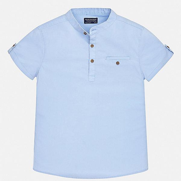 Рубашка Mayoral для мальчикаБлузки и рубашки<br>Характеристики товара:<br><br>• цвет: голубой<br>• состав ткани: 97% хлопок, 3% эластан <br>• сезон: лето<br>• застежка: пуговицы<br>• короткие рукава<br>• страна бренда: Испания<br>• неповторимый стиль Mayoral<br><br>Легкая рубашка с коротким рукавом для мальчика Mayoral удобно сидит по фигуре. Стильная детская рубашка сделана из натуральной хлопковой ткани. Детскую рубашку от Mayoral можно удачно комбинировать с различными вещами. Детская рубашка с коротким рукавом сшита из приятного на ощупь материала, который позволяет коже дышать. <br><br>Рубашку Mayoral (Майорал) для мальчика можно купить в нашем интернет-магазине.<br>Ширина мм: 174; Глубина мм: 10; Высота мм: 169; Вес г: 157; Цвет: синий; Возраст от месяцев: 168; Возраст до месяцев: 180; Пол: Мужской; Возраст: Детский; Размер: 170,128/134,164,158,152,140; SKU: 7544370;