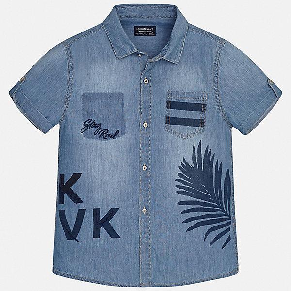 Рубашка Mayoral для мальчикаБлузки и рубашки<br>Характеристики товара:<br><br>• цвет: синий<br>• состав ткани: 100% хлопок<br>• сезон: лето<br>• застежка: пуговицы<br>• короткие рукава<br>• страна бренда: Испания<br>• неповторимый стиль Mayoral<br><br>Джинсовая детская рубашка сделана из дышащего приятного на ощупь материала. Благодаря качественному крою детской рубашки создаются комфортные условия для тела. Эта рубашка с коротким рукавом для мальчика отличается высоким качеством швов и материала. <br><br>Рубашку Mayoral (Майорал) для мальчика можно купить в нашем интернет-магазине.<br>Ширина мм: 174; Глубина мм: 10; Высота мм: 169; Вес г: 157; Цвет: голубой; Возраст от месяцев: 96; Возраст до месяцев: 108; Пол: Мужской; Возраст: Детский; Размер: 128/134,170,164,158,152,140; SKU: 7544405;