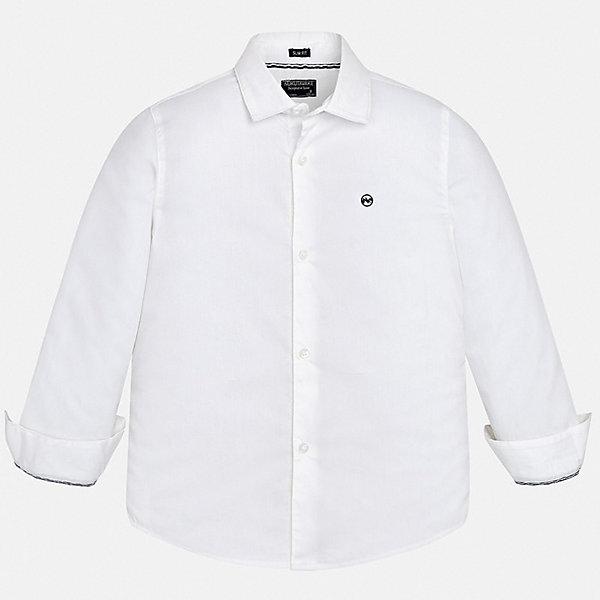 Рубашка Mayoral для мальчикаБлузки и рубашки<br>Характеристики товара:<br><br>• цвет: белый<br>• состав ткани: 72% хлопок, 25% полиамид, 3% эластан<br>• сезон: круглый год<br>• застежка: пуговицы<br>• длинные рукава<br>• страна бренда: Испания<br>• неповторимый стиль Mayoral<br><br>Эта детская рубашка отличается модным и продуманным дизайном. В рубашке для мальчика от испанской компании Майорал ребенок будет выглядеть оригинально и аккуратно. Такая рубашка для мальчика от Майорал поможет создать стильный и удобный наряд. <br><br>Рубашку Mayoral (Майорал) для мальчика можно купить в нашем интернет-магазине.<br>Ширина мм: 174; Глубина мм: 10; Высота мм: 169; Вес г: 157; Цвет: белый; Возраст от месяцев: 96; Возраст до месяцев: 108; Пол: Мужской; Возраст: Детский; Размер: 128/134,170,164,158,152,140; SKU: 7544440;