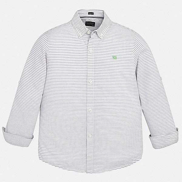 Рубашка Mayoral для мальчикаБлузки и рубашки<br>Характеристики товара:<br><br>• цвет: белый<br>• состав ткани: 100% хлопок<br>• сезон: круглый год<br>• застежка: пуговицы<br>• длинные рукава<br>• страна бренда: Испания<br>• неповторимый стиль Mayoral<br><br>Полосатая детская рубашка сделана из дышащего приятного на ощупь материала. Благодаря качественному крою детской рубашки создаются комфортные условия для тела. Эта рубашка с коротким рукавом для мальчика отличается высоким качеством швов и материала. <br><br>Рубашку Mayoral (Майорал) для мальчика можно купить в нашем интернет-магазине.<br>Ширина мм: 174; Глубина мм: 10; Высота мм: 169; Вес г: 157; Цвет: разноцветный; Возраст от месяцев: 96; Возраст до месяцев: 108; Пол: Мужской; Возраст: Детский; Размер: 128/134,170,164,158,152,140; SKU: 7544468;