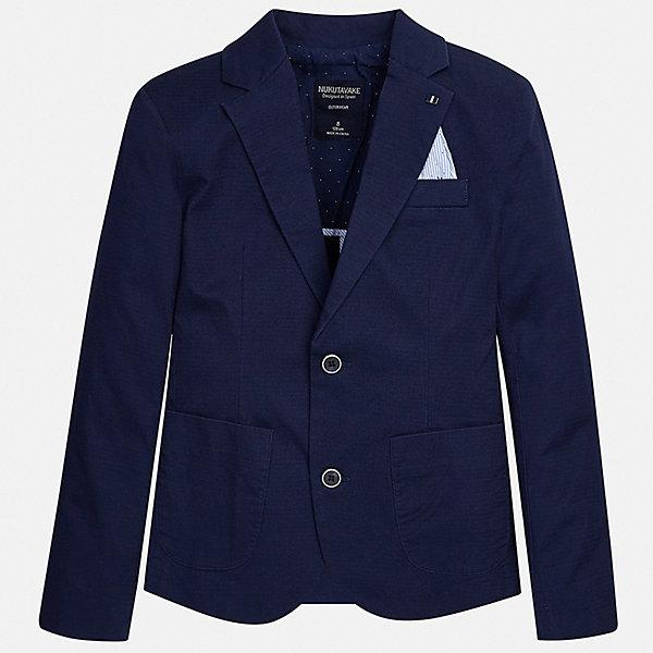 Пиджак Mayoral для мальчикаКостюмы и пиджаки<br>Характеристики товара:<br><br>• цвет: синий<br>• состав ткани: 97% хлопок, 3% эластан<br>• сезон: демисезон<br>• особенности модели: школьная<br>• длинные рукава<br>• застежка: пуговицы<br>• страна бренда: Испания<br>• неповторимый стиль Mayoral<br><br>Синий пиджак для мальчика Mayoral дополнен карманами и пуговицами. Пиджак для ребенка отличается стильным силуэтом. Детский пиджак обеспечит ребенку аккуратный внешний вид. Детский пиджак сшит из приятного на ощупь материала, преимущественно имеющего в составе натуральный хлопок. <br><br>Пиджак Mayoral (Майорал) для мальчика можно купить в нашем интернет-магазине.<br>Ширина мм: 190; Глубина мм: 74; Высота мм: 229; Вес г: 236; Цвет: синий; Возраст от месяцев: 168; Возраст до месяцев: 180; Пол: Мужской; Возраст: Детский; Размер: 170,128/134,164,158,152,140; SKU: 7544754;
