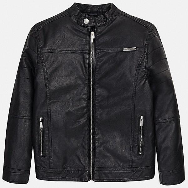 Куртка Mayoral для мальчикаВерхняя одежда<br>Характеристики товара:<br><br>• цвет: черный<br>• состав ткани: 100% полиуретан<br>• подкладка: 100% полиэстер<br>• утеплитель: нет<br>• сезон: демисезон<br>• особенности куртки: без капюшона<br>• застежка: молния<br>• страна бренда: Испания<br>• неповторимый стиль Mayoral<br><br>Параметры изделия:<br>• Длина внутреннего шва рукава: 42 см<br>• Длина внешнего шва рукава: 54 см<br><br>Черная демисезонная куртка для мальчика от Майорал поможет обеспечить ребенку комфорт и тепло. Детская куртка отличается модным и продуманным дизайном. В куртке для мальчика от испанской компании Майорал ребенок будет выглядеть модно, а чувствовать себя - комфортно.<br><br>Куртку Mayoral (Майорал) для мальчика можно купить в нашем интернет-магазине.<br>Ширина мм: 356; Глубина мм: 10; Высота мм: 245; Вес г: 519; Цвет: черный; Возраст от месяцев: 96; Возраст до месяцев: 108; Пол: Мужской; Возраст: Детский; Размер: 128/134,170,164,158,152,140; SKU: 7544796;