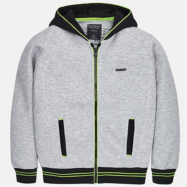 Толстовка Mayoral для мальчикаТолстовки<br>Характеристики товара:<br><br>• цвет: серый<br>• состав ткани: 60% хлопок, 40% полиэстер<br>• утеплитель: нет<br>• сезон: демисезон<br>• особенности куртки: с капюшоном, спортивный стиль<br>• застежка: молния<br>• страна бренда: Испания<br>• неповторимый стиль Mayoral<br><br>Универсальная детская куртка сделана из качественного материала и фурнитуры. Куртка для мальчика отличается стильным продуманным кроем от европейских дизайнеров. В детской куртке есть карманы, модель дополнена капюшоном.<br><br>Куртку Mayoral (Майорал) для мальчика можно купить в нашем интернет-магазине.<br>Ширина мм: 356; Глубина мм: 10; Высота мм: 245; Вес г: 519; Цвет: серый; Возраст от месяцев: 96; Возраст до месяцев: 108; Пол: Мужской; Возраст: Детский; Размер: 128/134,170,164,158,152,140; SKU: 7544851;