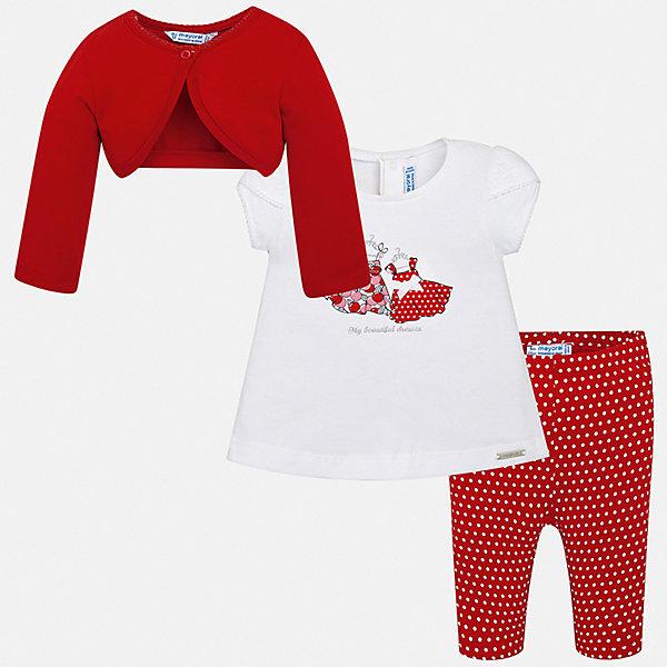 Купить Комплект: футболка, болеро и леггинсы Mayoral для девочки, Индия, красный, Женский