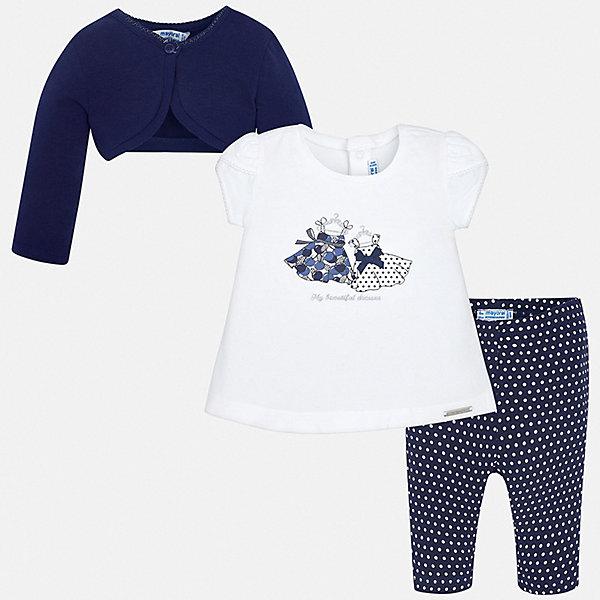 Купить Комплект: футболка, болеро и леггинсы Mayoral для девочки, Китай, синий, Женский