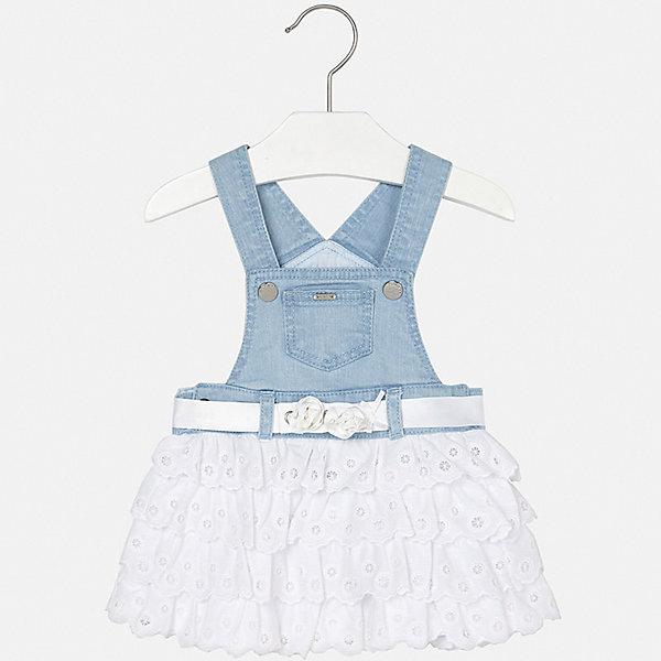 Сарафан Mayoral для девочкиПлатья<br>Характеристики товара:<br><br>• цвет: голубой<br>• состав ткани верха: 98% хлопок, 2% эластан<br>• подкладка: 100% хлопок<br>• сезон: лето<br>• особенности модели: нарядная<br>• шлевки<br>• страна бренда: Испания<br>• неповторимый стиль Mayoral<br><br>Оригинальная детская юбка от известного бренда Майорал выглядит аккуратно и стильно. Пышная детская юбка дополнена джинсовым верхом с лямками. Юбка для девочки декорирована поясом. <br><br>Юбку для девочки Mayoral (Майорал) можно купить в нашем интернет-магазине.