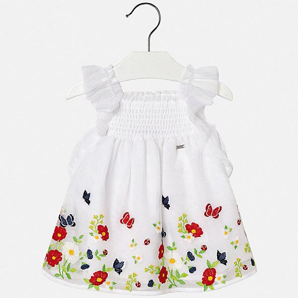 Платье Mayoral для девочкиЛетние платья и сарафаны<br>Характеристики товара:<br><br>• цвет: мульти<br>• состав ткани верха: 100% полиэстер<br>• подкладка: 100% хлопок<br>• сезон: лето<br>• без рукавов<br>• страна бренда: Испания<br>• неповторимый стиль Mayoral<br><br>Симпатичное платье для девочки от Майорал поможет обеспечить ребенку удобство и аккуратный внешний вид. Детское платье отличается модным и продуманным дизайном. В платье для девочки от испанской компании Майорал ребенок будет выглядеть модно, а чувствовать себя - комфортно. <br><br>Платье для девочки Mayoral (Майорал) можно купить в нашем интернет-магазине.<br>Ширина мм: 236; Глубина мм: 16; Высота мм: 184; Вес г: 177; Цвет: белый; Возраст от месяцев: 6; Возраст до месяцев: 9; Пол: Женский; Возраст: Детский; Размер: 74,98,92,86,80; SKU: 7546054;