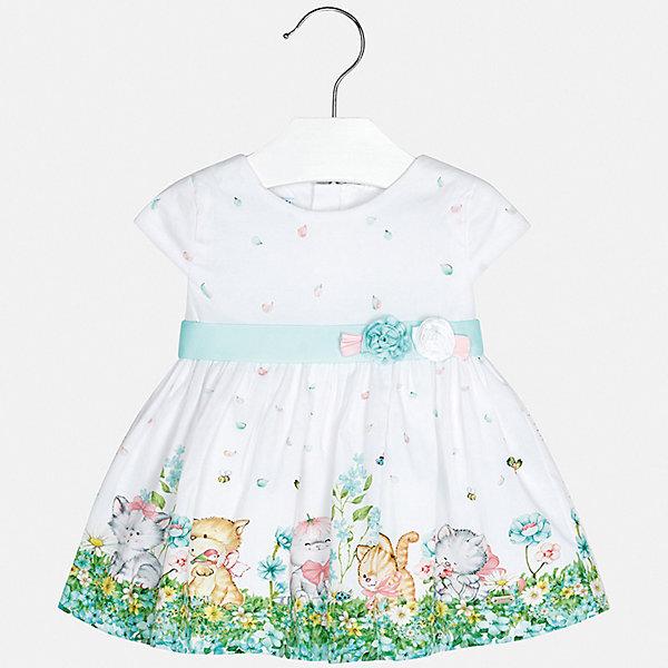 Платье Mayoral для девочкиЛетние платья и сарафаны<br>Характеристики товара:<br><br>• цвет: белый<br>• состав ткани верха: 95% хлопок, 5% эластан<br>• подкладка: 100% хлопок<br>• сезон: круглый год<br>• особенности модели: нарядная<br>• застежка: молния<br>• короткие рукава<br>• страна бренда: Испания<br>• неповторимый стиль Mayoral<br><br>Эффектное платье для девочки от Майорал поможет обеспечить ребенку удобство и аккуратный внешний вид. Детское платье отличается модным и продуманным дизайном. В платье для девочки от испанской компании Майорал ребенок будет выглядеть модно, а чувствовать себя - комфортно. <br><br>Платье для девочки Mayoral (Майорал) можно купить в нашем интернет-магазине.<br>Ширина мм: 236; Глубина мм: 16; Высота мм: 184; Вес г: 177; Цвет: голубой; Возраст от месяцев: 12; Возраст до месяцев: 18; Пол: Женский; Возраст: Детский; Размер: 86,74,98,92,80; SKU: 7546090;