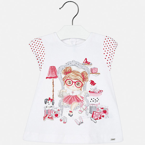 Платье Mayoral для девочкиЛетние платья и сарафаны<br>Характеристики товара:<br><br>• цвет: белый<br>• состав ткани верха: 92% хлопок, 8% эластан<br>• сезон: лето<br>• застежка: кнопки<br>• короткие рукава<br>• страна бренда: Испания<br>• неповторимый стиль Mayoral<br><br>Платье для ребенка создано европейскими дизайнерами популярного бренда Mayoral с учетом потребностей детей. Это детское платье украшено эффектным декором. Платье для девочки сшито из дышащего и легкого качественного материала, поэтому он создает комфортные условия для тела. <br><br>Платье для девочки Mayoral (Майорал) можно купить в нашем интернет-магазине.<br>Ширина мм: 236; Глубина мм: 16; Высота мм: 184; Вес г: 177; Цвет: красный; Возраст от месяцев: 6; Возраст до месяцев: 9; Пол: Женский; Возраст: Детский; Размер: 74,92,86,80; SKU: 7546178;