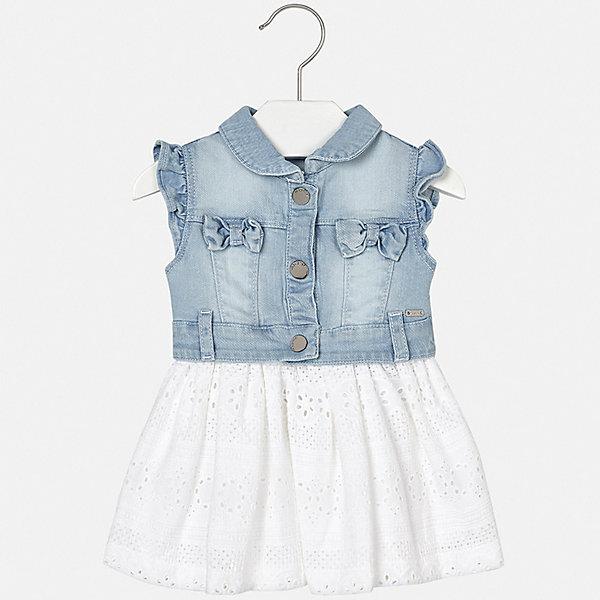 Платье Mayoral для девочкиПлатья<br>Характеристики товара:<br><br>• цвет: голубой<br>• состав ткани верха: 98% хлопок, 2% эластан<br>• подкладка: 100% хлопок<br>• сезон: лето<br>• застежка: кнопки<br>• короткие рукава<br>• страна бренда: Испания<br>• неповторимый стиль Mayoral<br><br>Джинсовое платье для девочки от испанской компании Майорал - стильный удачный наряд от европейских дизайнеров. Такое детское платье отличается модным дизайном. Это платье для девочки от Майорал сделано из качественного материала и тщательно подобранной фурнитуры. <br><br>Платье для девочки Mayoral (Майорал) можно купить в нашем интернет-магазине.<br>Ширина мм: 236; Глубина мм: 16; Высота мм: 184; Вес г: 177; Цвет: белый; Возраст от месяцев: 6; Возраст до месяцев: 9; Пол: Женский; Возраст: Детский; Размер: 92,86,80,74,98; SKU: 7546289;