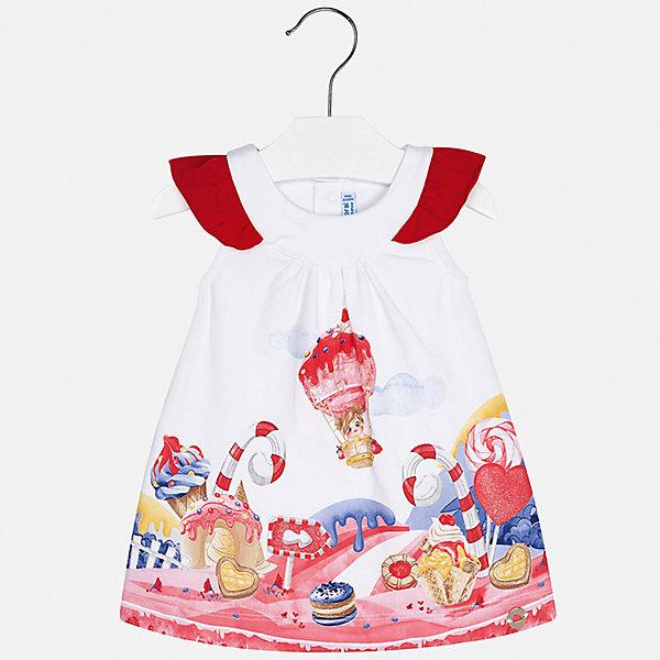 Платье Mayoral для девочкиПлатья и сарафаны<br>Характеристики товара:<br><br>• цвет: белый<br>• состав ткани верха: 92% хлопок, 8% эластан<br>• сезон: лето<br>• застежка: кнопки<br>• короткие рукава<br>• страна бренда: Испания<br>• неповторимый стиль Mayoral<br><br>Принтованное платье для ребенка создано европейскими дизайнерами популярного бренда Mayoral с учетом потребностей детей. Хлопковое детское платье украшено эффектным декором. Платье для девочки сшито из дышащего и легкого качественного материала, поэтому он создает комфортные условия для тела. <br><br>Платье для девочки Mayoral (Майорал) можно купить в нашем интернет-магазине.<br>Ширина мм: 236; Глубина мм: 16; Высота мм: 184; Вес г: 177; Цвет: красный; Возраст от месяцев: 6; Возраст до месяцев: 9; Пол: Женский; Возраст: Детский; Размер: 74,98,92,86,80; SKU: 7546317;