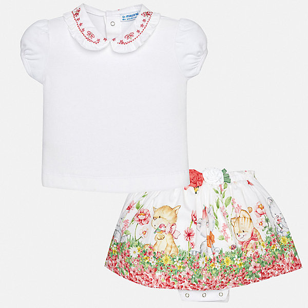 Комплект: Футболка,юбка Mayoral для девочкиКомплекты<br>Характеристики товара:<br><br>• цвет: белый<br>• комплектация: юбка, футболка<br>• состав ткани футболки: 93% хлопок, 7% эластан<br>• состав ткани юбки: 95% хлопок, 5% эластан<br>• сезон: лето<br>• пояс: резинка<br>• застежка: кнопки<br>• короткие рукава<br>• страна бренда: Испания<br>• неповторимый стиль Mayoral<br><br>Легкий комплект - футболка и юбка для футболка от Майорал - отлично сочетается между собой, а также с другими вещами. В этом детском наборе - сразу две модные вещи. В футболке и юбке для девочки от испанской компании Майорал ребенок будет выглядеть стильно и оригинально.<br><br>Комплект: футболка, юбка Mayoral (Майорал) для девочки можно купить в нашем интернет-магазине.<br>Ширина мм: 207; Глубина мм: 10; Высота мм: 189; Вес г: 183; Цвет: розовый; Возраст от месяцев: 24; Возраст до месяцев: 36; Пол: Женский; Возраст: Детский; Размер: 98,74,92,86,80; SKU: 7546341;