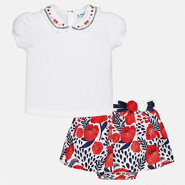 Комплект: юбка Mayoral для девочкиКомплекты<br>Характеристики товара:<br><br>• цвет: белый<br>• комплектация: юбка, футболка<br>• состав ткани футболки: 93% хлопок, 7% эластан<br>• состав ткани юбки: 95% хлопок, 5% эластан<br>• сезон: лето<br>• пояс: резинка<br>• застежка: кнопки<br>• короткие рукава<br>• страна бренда: Испания<br>• неповторимый стиль Mayoral<br><br>Летние футболка и юбка для девочки от Майорал - отличный комплект для теплого времени года. В этом детском комплекте - две качественные и модные вещи. В футболке и юбке для девочки от испанской компании Майорал ребенок будет чувствовать себя удобно благодаря высокому качеству материала и швов. <br><br>Комплект: футболка, юбка Mayoral (Майорал) для девочки можно купить в нашем интернет-магазине.<br>Ширина мм: 207; Глубина мм: 10; Высота мм: 189; Вес г: 183; Цвет: синий; Возраст от месяцев: 6; Возраст до месяцев: 9; Пол: Женский; Возраст: Детский; Размер: 74,98,92,86,80; SKU: 7546347;