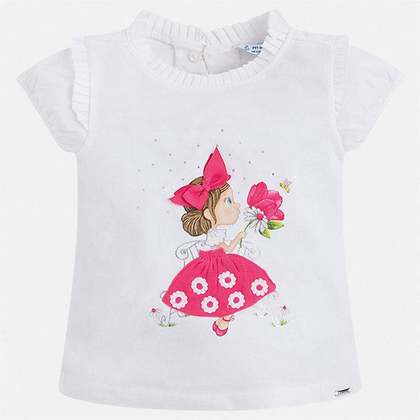 Футболка Mayoral для девочкиФутболки, поло и топы<br>Характеристики товара:<br><br>• цвет: белый<br>• состав ткани: 92% хлопок, 8% эластан<br>• сезон: лето<br>• застежка: пуговица<br>• короткие рукава<br>• страна бренда: Испания<br>• неповторимый стиль Mayoral<br><br>Хлопковая детская футболка с коротким рукавом украшена эффектным принтом от ведущих дизайнеров испанского бренда Mayoral. Эта футболка для девочки отличается модным дизайном. Края детской футболки обработаны мягкими швами. <br><br>Футболку Mayoral (Майорал) для девочки можно купить в нашем интернет-магазине.<br>Ширина мм: 199; Глубина мм: 10; Высота мм: 161; Вес г: 151; Цвет: розовый; Возраст от месяцев: 18; Возраст до месяцев: 24; Пол: Женский; Возраст: Детский; Размер: 92,134,128,122,116,110,104,98; SKU: 7546371;