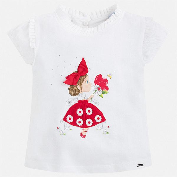 Футболка Mayoral для девочкиФутболки, поло и топы<br>Характеристики товара:<br><br>• цвет: мульти<br>• состав ткани: 92% хлопок, 8% эластан<br>• сезон: лето<br>• застежка: пуговица<br>• короткие рукава<br>• страна бренда: Испания<br>• неповторимый стиль Mayoral<br><br>Оригинальная детская футболка сделана из натуральной трикотажной ткани, которая обеспечивает ребенку комфорт. Такая детская футболка поможет создать модный и удобный наряд для ребенка. Эта футболка для девочки от Mayoral - универсальная и комфортная базовая вещь для детского гардероба. <br><br>Футболку Mayoral (Майорал) для девочки можно купить в нашем интернет-магазине.<br>Ширина мм: 199; Глубина мм: 10; Высота мм: 161; Вес г: 151; Цвет: красный; Возраст от месяцев: 18; Возраст до месяцев: 24; Пол: Женский; Возраст: Детский; Размер: 134,128,122,116,110,104,98,92; SKU: 7546380;
