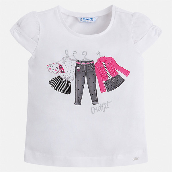 Футболка Mayoral для девочкиФутболки, поло и топы<br>Характеристики товара:<br><br>• цвет: белый<br>• состав ткани: 92% хлопок, 8% эластан<br>• сезон: лето<br>• короткие рукава<br>• страна бренда: Испания<br>• неповторимый стиль Mayoral<br><br>Качественная детская футболка сделана из натуральной трикотажной ткани, которая обеспечивает ребенку комфорт. Такая детская футболка поможет создать модный и удобный наряд для ребенка. Эта футболка для девочки от Mayoral - универсальная и комфортная базовая вещь для детского гардероба. <br><br>Футболку Mayoral (Майорал) для девочки можно купить в нашем интернет-магазине.<br>Ширина мм: 199; Глубина мм: 10; Высота мм: 161; Вес г: 151; Цвет: розовый; Возраст от месяцев: 18; Возраст до месяцев: 24; Пол: Женский; Возраст: Детский; Размер: 92,134,128,122,116,110,104,98; SKU: 7546407;