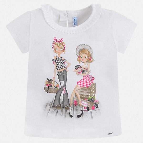 Футболка Mayoral для девочкиФутболки, поло и топы<br>Характеристики товара:<br><br>• цвет: белый<br>• состав ткани: 92% хлопок, 8% эластан<br>• сезон: лето<br>• застежка: пуговица<br>• короткие рукава<br>• страна бренда: Испания<br>• стиль и качество Mayoral<br><br>Эта детская футболка сшита из материала, который содержит хлопок, поэтому она дышащая и комфортная. Детская футболка поможет создать модный и удобный наряд для ребенка. Эта футболка для девочки от Mayoral - универсальная и комфортная базовая вещь для детского гардероба. <br><br>Футболку Mayoral (Майорал) для девочки можно купить в нашем интернет-магазине.<br>Ширина мм: 199; Глубина мм: 10; Высота мм: 161; Вес г: 151; Цвет: белый; Возраст от месяцев: 18; Возраст до месяцев: 24; Пол: Женский; Возраст: Детский; Размер: 92,134,128,122,116,110,104,98; SKU: 7546515;