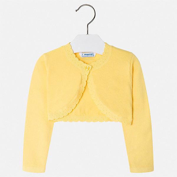 Жакет Mayoral для девочкиОдежда<br>Характеристики товара:<br><br>• цвет: желтый<br>• состав ткани: 80% хлопок, 17% полиамид, 3% эластан<br>• сезон: демисезон<br>• застежка: пуговица<br>• длинные рукава<br>• страна бренда: Испания<br>• неповторимый стиль Mayoral<br><br>Такое болеро для ребенка поможет поставить яркий акцент в наряде. Болеро для девочки отличается высоким качеством пошива. Детское болеро разработано европейскими дизайнерами бренда Mayoral с учетом последних тенденций в молодежной моде. <br><br>Болеро Mayoral (Майорал) для девочки можно купить в нашем интернет-магазине.<br>Ширина мм: 190; Глубина мм: 74; Высота мм: 229; Вес г: 236; Цвет: желтый; Возраст от месяцев: 18; Возраст до месяцев: 24; Пол: Женский; Возраст: Детский; Размер: 92,134,128,122,116,110,104,98; SKU: 7547830;