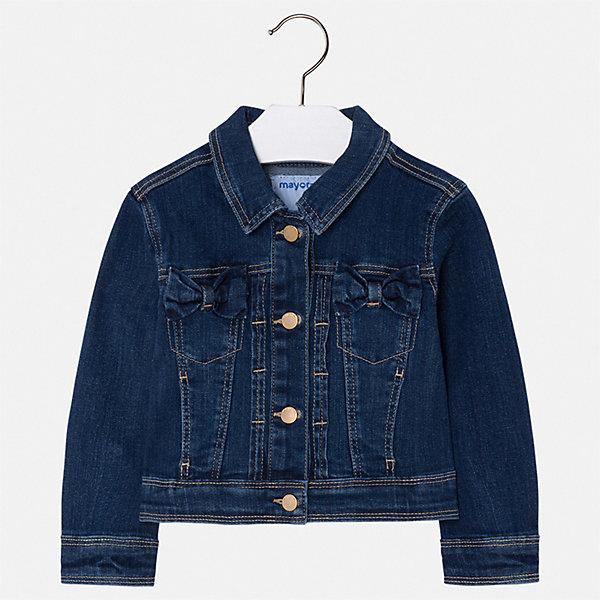 Куртка Mayoral для девочкиДжинсовая одежда<br>Характеристики товара:<br><br>• цвет: синий<br>• состав ткани: 99% хлопок, 1% эластан<br>• утеплитель: нет<br>• сезон: демисезон<br>• особенности куртки: без капюшона<br>• застежка: пуговицы<br>• страна бренда: Испания<br>• неповторимый стиль Mayoral<br><br>Эта джинсовая куртка для девочки от Майорал поможет обеспечить ребенку комфорт и тепло. Детская куртка отличается модным и продуманным дизайном. В куртке для девочки от испанской компании Майорал ребенок будет выглядеть модно, а чувствовать себя - комфортно. <br><br>Куртку Mayoral (Майорал) для девочки можно купить в нашем интернет-магазине.<br>Ширина мм: 356; Глубина мм: 10; Высота мм: 245; Вес г: 519; Цвет: синий; Возраст от месяцев: 18; Возраст до месяцев: 24; Пол: Женский; Возраст: Детский; Размер: 92,134,128,122,116,110,104,98; SKU: 7547878;