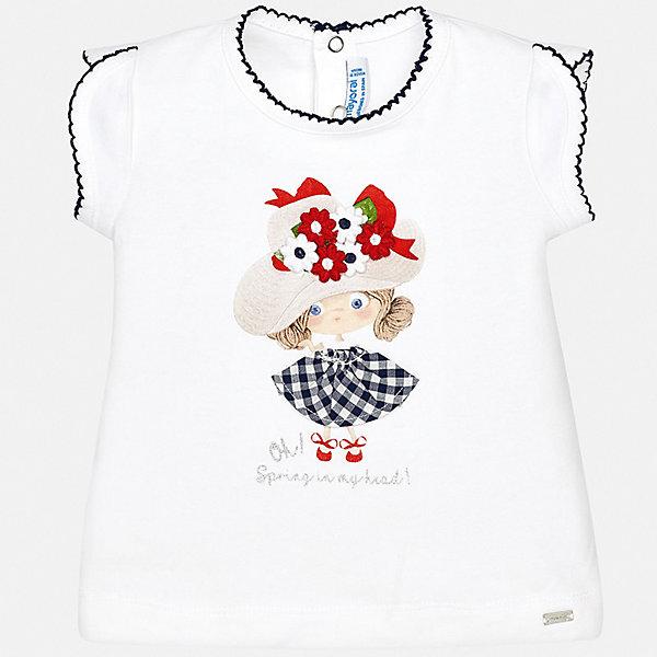 Футболка Mayoral для девочкиФутболки, топы<br>Характеристики товара:<br><br>• цвет: белый<br>• состав ткани: 95% хлопок, 5% эластан<br>• сезон: лето<br>• застежка: кнопки<br>• короткие рукава<br>• страна бренда: Испания<br>• неповторимый стиль Mayoral<br><br>Комфортная хлопковая футболка для девочки от Майорал поможет обеспечить ребенку комфорт. В футболке для девочки от испанской компании Майорал ребенок будет чувствовать себя удобно благодаря качественным швам и натуральному материалу. Трикотажная детская футболка отлично сочетается с различным низом. <br><br>Футболку Mayoral (Майорал) для девочки можно купить в нашем интернет-магазине.<br>Ширина мм: 199; Глубина мм: 10; Высота мм: 161; Вес г: 151; Цвет: синий; Возраст от месяцев: 6; Возраст до месяцев: 9; Пол: Женский; Возраст: Детский; Размер: 74,98,92,86,80; SKU: 7548038;