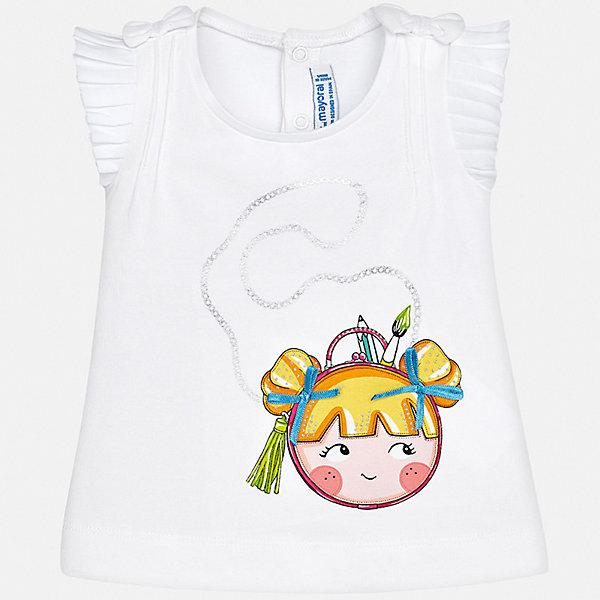 Футболка Mayoral для девочкиФутболки, поло и топы<br>Характеристики товара:<br><br>• цвет: белый<br>• состав ткани: 92% хлопок, 8% эластан<br>• сезон: лето<br>• застежка: кнопки<br>• короткие рукава<br>• страна бренда: Испания<br>• неповторимый стиль Mayoral<br><br>Легкая детская футболка с коротким рукавом украшена эффектным принтом от ведущих дизайнеров испанского бренда Mayoral. Эта футболка для девочки отличается модным дизайном. Края детской футболки обработаны мягкими швами. <br><br>Футболку Mayoral (Майорал) для девочки можно купить в нашем интернет-магазине.<br>Ширина мм: 199; Глубина мм: 10; Высота мм: 161; Вес г: 151; Цвет: белый; Возраст от месяцев: 6; Возраст до месяцев: 9; Пол: Женский; Возраст: Детский; Размер: 74,98,92,86,80; SKU: 7548076;