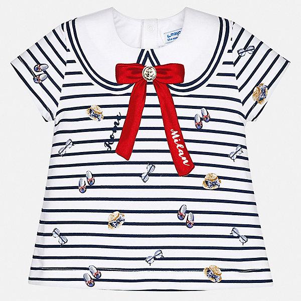 Футболка Mayoral для девочкиОдежда<br>Характеристики товара:<br><br>• цвет: белый<br>• состав ткани: 92% хлопок, 8% эластан<br>• сезон: лето<br>• застежка: кнопки<br>• короткие рукава<br>• страна бренда: Испания<br>• неповторимый стиль Mayoral<br><br>Эта детская футболка с коротким рукавом украшена эффектным принтом от ведущих дизайнеров испанского бренда Mayoral. Эта футболка для девочки отличается модным дизайном. Края детской футболки обработаны мягкими швами. <br><br>Футболку Mayoral (Майорал) для девочки можно купить в нашем интернет-магазине.<br>Ширина мм: 199; Глубина мм: 10; Высота мм: 161; Вес г: 151; Цвет: синий; Возраст от месяцев: 12; Возраст до месяцев: 18; Пол: Женский; Возраст: Детский; Размер: 86,80,74,98,92; SKU: 7548094;