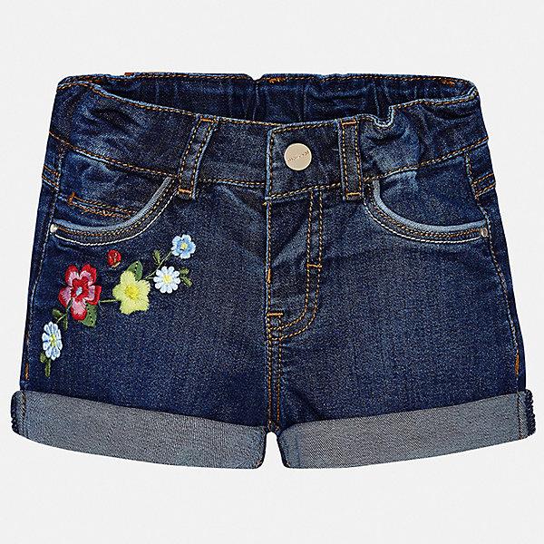 Шорты джинсовые Mayoral для девочкиШорты и бриджи<br>Характеристики товара:<br><br>• цвет: синий<br>• состав ткани: 98% хлопок, 2% эластан<br>• сезон: лето<br>• шлевки<br>• регулируемая талия<br>• застежка: пуговица<br>• страна бренда: Испания<br>• неповторимый стиль Mayoral<br><br>Эти джинсовые шорты для девочки от Майорал помогут обеспечить ребенку комфорт. Такие детские шорты отличаются оригинальным дизайном. В шортах для девочки от испанской компании Майорал ребенок будет выглядеть модно, а чувствовать себя - комфортно. <br><br>Шорты Mayoral (Майорал) для девочки можно купить в нашем интернет-магазине.<br>Ширина мм: 191; Глубина мм: 10; Высота мм: 175; Вес г: 273; Цвет: голубой; Возраст от месяцев: 24; Возраст до месяцев: 36; Пол: Женский; Возраст: Детский; Размер: 98,74,92,86,80; SKU: 7548160;