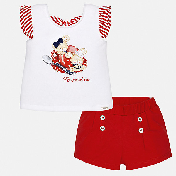 Комплект:шорты,футболка Mayoral для девочкиКомплекты<br>Характеристики товара:<br><br>• цвет: красный<br>• комплектация: шорты, футболка<br>• состав ткани: 100% хлопок<br>• сезон: лето<br>• пояс: резинка<br>• короткие рукава<br>• страна бренда: Испания<br>• неповторимый стиль Mayoral<br><br>Хлопковые футболка и шорты для девочки от Майорал - отличный комплект для жаркого времени года. В этом детском комплекте - сразу две качественные и модные вещи. В футболке и шортах для девочки от испанской компании Майорал ребенок будет чувствовать себя удобно благодаря высокому качеству материала и швов. <br><br>Комплект: шорты, футболка Mayoral (Майорал) для девочки можно купить в нашем интернет-магазине.<br>Ширина мм: 191; Глубина мм: 10; Высота мм: 175; Вес г: 273; Цвет: красный; Возраст от месяцев: 6; Возраст до месяцев: 9; Пол: Женский; Возраст: Детский; Размер: 74,98,92,86,80; SKU: 7548207;