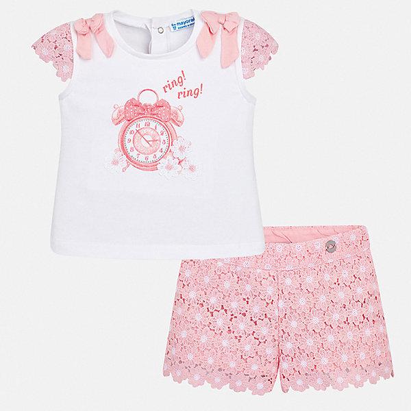 Комплект: шорты Mayoral для девочкиКомплекты<br>Характеристики товара:<br><br>• цвет: розовый<br>• комплектация: шорты, блузка<br>• состав ткани: 95% хлопок, 5% эластан<br>• сезон: лето<br>• пояс: резинка<br>• застежка: кнопки<br>• короткие рукава<br>• страна бренда: Испания<br>• неповторимый стиль Mayoral<br><br>Симпатичный комплект - детские шорты и блузка - подойдет для ношения в разных случаях. Отличный способ обеспечить ребенку комфорт в жаркую погоду - надеть этот комплект от Mayoral. Детские шорты и блузка сшиты из качественного материала с преобладанием хлопка в составе. <br><br>Комплект: блузка, шорты Mayoral (Майорал) для девочки можно купить в нашем интернет-магазине.<br>Ширина мм: 191; Глубина мм: 10; Высота мм: 175; Вес г: 273; Цвет: розовый; Возраст от месяцев: 24; Возраст до месяцев: 36; Пол: Женский; Возраст: Детский; Размер: 98,74,92,86,80; SKU: 7548237;