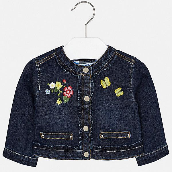 Куртка Mayoral для девочкиВерхняя одежда<br>Характеристики товара:<br><br>• цвет: синий<br>• состав ткани: 98% хлопок, 2% эластан<br>• утеплитель: нет<br>• сезон: демисезон<br>• особенности куртки: без капюшона<br>• застежка: кнопки<br>• страна бренда: Испания<br>• неповторимый стиль Mayoral<br><br>Оригинальная джинсовая детская куртка сделана из качественного материала и фурнитуры. Куртка для девочки отличается стильным продуманным кроем от европейских дизайнеров. В детской куртке есть карманы, модель дополнена отложным воротником.<br><br>Куртку Mayoral (Майорал) для девочки можно купить в нашем интернет-магазине.<br>Ширина мм: 356; Глубина мм: 10; Высота мм: 245; Вес г: 519; Цвет: синий; Возраст от месяцев: 6; Возраст до месяцев: 9; Пол: Женский; Возраст: Детский; Размер: 74,98,92,86,80; SKU: 7548318;
