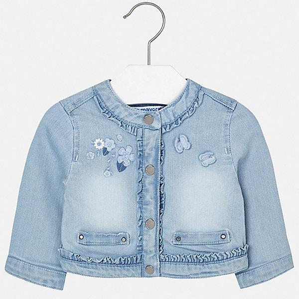 Куртка Mayoral для девочкиДжинсовая одежда<br>Характеристики товара:<br><br>• цвет: синий<br>• состав ткани: 98% хлопок, 2% эластан<br>• утеплитель: нет<br>• сезон: демисезон<br>• особенности куртки: без капюшона<br>• застежка: кнопки<br>• страна бренда: Испания<br>• неповторимый стиль Mayoral<br><br>Хлопковая джинсовая куртка для девочки от Майорал поможет обеспечить ребенку комфорт и тепло. Детская куртка отличается модным и продуманным дизайном. В куртке для девочки от испанской компании Майорал ребенок будет выглядеть модно, а чувствовать себя - комфортно. <br><br>Куртку Mayoral (Майорал) для девочки можно купить в нашем интернет-магазине.<br>Ширина мм: 356; Глубина мм: 10; Высота мм: 245; Вес г: 519; Цвет: белый; Возраст от месяцев: 12; Возраст до месяцев: 18; Пол: Женский; Возраст: Детский; Размер: 86,98,92,80,74; SKU: 7548324;