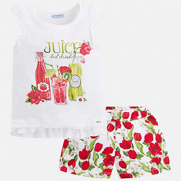 Комплект:шорты,футболка Mayoral для девочкиКомплекты<br>Характеристики товара:<br><br>• цвет: мульти<br>• комплектация: шорты, майка<br>• состав ткани: 95% хлопок, 5% эластан<br>• сезон: лето<br>• страна бренда: Испания<br>• стиль и качество Mayoral<br><br>Модные майка и шорты для девочки от Майорал помогут обеспечить ребенку комфорт в жаркое время года. В этом детском комплекте - сразу две стильные вещи. В майка и шортах для девочки от испанской компании Майорал ребенок будет выглядеть модно, а чувствовать себя - удобно. <br><br>Комплект: шорты, майка Mayoral (Майорал) для девочки можно купить в нашем интернет-магазине.<br>Ширина мм: 191; Глубина мм: 10; Высота мм: 175; Вес г: 273; Цвет: красный; Возраст от месяцев: 24; Возраст до месяцев: 36; Пол: Женский; Возраст: Детский; Размер: 98,134,128,122,116,110,104,92; SKU: 7548786;