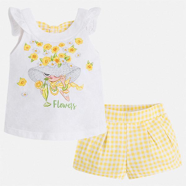 Комплект:шорты,футболка Mayoral для девочкиКомплекты<br>Характеристики товара:<br><br>• цвет: желтый<br>• комплектация: шорты, майка<br>• состав ткани: 95% хлопок, 5% эластан<br>• сезон: лето<br>• страна бренда: Испания<br>• стиль и качество Mayoral<br><br>Легкие детские шорты и майка сшиты из дышащего качественного материала. Благодаря преобладанию в его составе натурального хлопка материал детских шорт и майки создает комфортные условия для тела. Шорты и майка для девочки от Mayoral отличаются стильным дизайном.<br><br>Комплект: шорты, майка Mayoral (Майорал) для девочки можно купить в нашем интернет-магазине.<br>Ширина мм: 191; Глубина мм: 10; Высота мм: 175; Вес г: 273; Цвет: желтый; Возраст от месяцев: 18; Возраст до месяцев: 24; Пол: Женский; Возраст: Детский; Размер: 92,134,128,122,116,110,104,98; SKU: 7548804;
