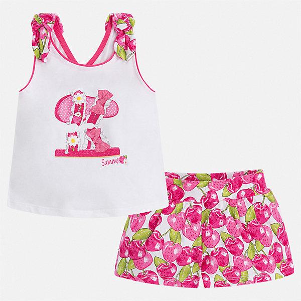 Комплект:шорты,футболка Mayoral для девочкиКомплекты<br>Характеристики товара:<br><br>• цвет: розовый<br>• комплектация: шорты, майка<br>• состав ткани: 95% хлопок, 5% эластан<br>• сезон: лето<br>• страна бренда: Испания<br>• стиль и качество Mayoral<br><br>Яркие детские шорты и майка сшиты из дышащего качественного материала. Благодаря преобладанию в его составе натурального хлопка материал детских шорт и майки создает комфортные условия для тела. Шорты и майка для девочки от Mayoral отличаются стильным дизайном.<br><br>Комплект: шорты, майка Mayoral (Майорал) для девочки можно купить в нашем интернет-магазине.<br>Ширина мм: 191; Глубина мм: 10; Высота мм: 175; Вес г: 273; Цвет: розовый; Возраст от месяцев: 18; Возраст до месяцев: 24; Пол: Женский; Возраст: Детский; Размер: 92,134,128,122,116,110,104,98; SKU: 7548831;