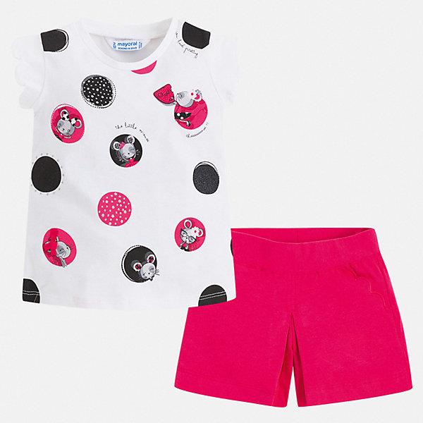 Фото - Mayoral Комплект: футболка и шорты Mayoral для девочки комплект одежды для девочки let s go футболка шорты цвет темно синий малиновый 4121 размер 164