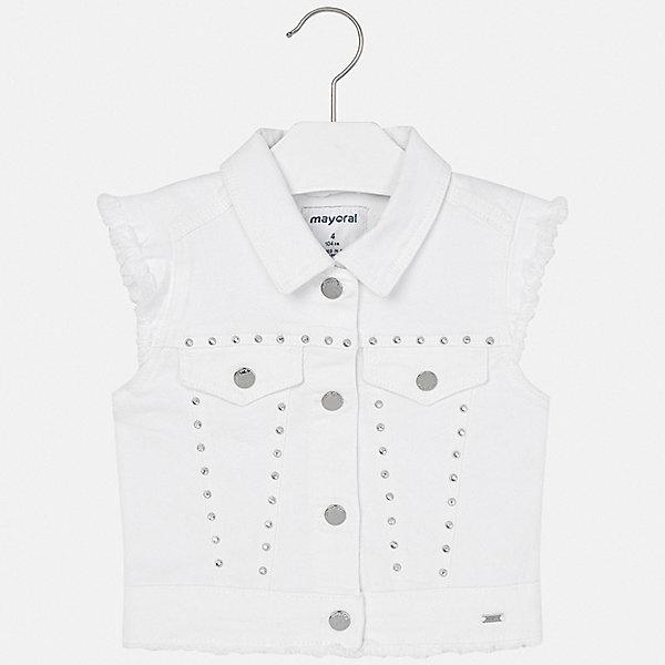 Жилет Mayoral для девочкиДжинсовая одежда<br>Характеристики товара:<br><br>• цвет: белый<br>• состав ткани: 98% хлопок, 2% эластан<br>• сезон: круглый год<br>• застежка: пуговицы<br>• страна бренда: Испания<br>• стиль и качество Mayoral<br><br>Оригинальный белый детский жилет сделан из качественного материала. Благодаря продуманному крою детского жилета создаются комфортные условия для тела. Жилет для девочки отличается стильным дизайном.<br><br>Жилет Mayoral (Майорал) для девочки можно купить в нашем интернет-магазине.<br>Ширина мм: 190; Глубина мм: 74; Высота мм: 229; Вес г: 236; Цвет: белый; Возраст от месяцев: 48; Возраст до месяцев: 60; Пол: Женский; Возраст: Детский; Размер: 110,134,128,122,116,104,98,92; SKU: 7548984;