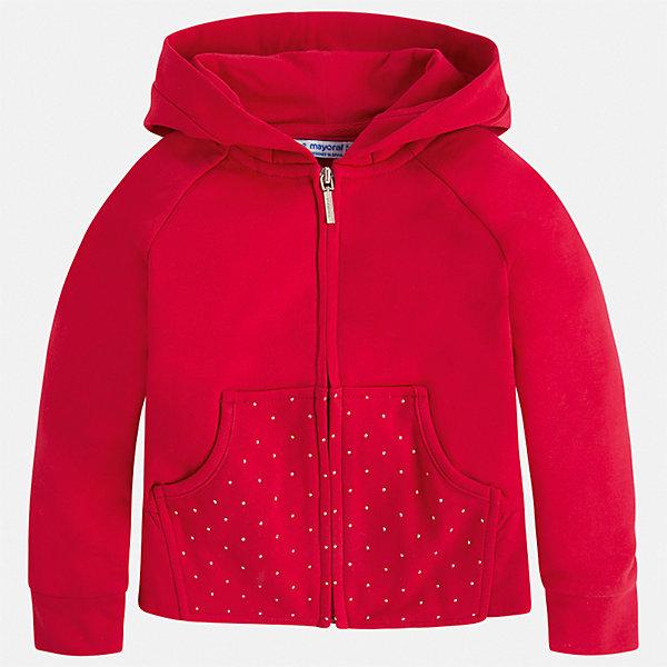 Толстовка Mayoral для девочкиТолстовки<br>Характеристики товара:<br><br>• цвет: красный<br>• состав ткани: 56% хлопок, 39% полиэстер, 3% эластан<br>• утеплитель: нет<br>• сезон: демисезон<br>• особенности куртки: с капюшоном<br>• застежка: молния<br>• страна бренда: Испания<br>• стиль и качество Mayoral<br><br>Яркая детская куртка отличается модным и продуманным дизайном. В куртке для девочки от испанской компании Майорал ребенок будет выглядеть модно, а чувствовать себя - комфортно. Эта легкая куртка для девочки от Майорал поможет обеспечить ребенку комфорт и тепло. <br><br>Куртку Mayoral (Майорал) для девочки можно купить в нашем интернет-магазине.<br>Ширина мм: 356; Глубина мм: 10; Высота мм: 245; Вес г: 519; Цвет: красный; Возраст от месяцев: 18; Возраст до месяцев: 24; Пол: Женский; Возраст: Детский; Размер: 92,134,128,122,116,110,104,98; SKU: 7549137;