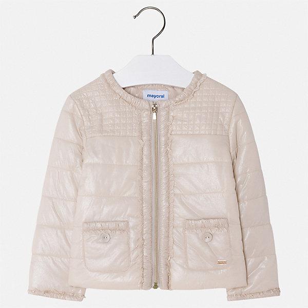 Куртка Mayoral для девочкиВерхняя одежда<br>Характеристики товара:<br><br>• цвет: бежевый<br>• состав ткани: 100% полиамид<br>• подкладка: 100% полиэстер<br>• утеплитель: 100% полиэстер<br>• сезон: демисезон<br>• температурный режим: от +10 до +20<br>• особенности куртки: без капюшона<br>• застежка: молния<br>• страна бренда: Испания<br>• стиль и качество Mayoral<br><br>Стильная легкая куртка для девочки отличается стильным продуманным кроем от европейских дизайнеров. Детская куртка была разработана специально для девочек, модель дополнена удобной застежкой. Детская куртка сделана из качественного материала и фурнитуры. <br><br>Куртку Mayoral (Майорал) для девочки можно купить в нашем интернет-магазине.<br>Ширина мм: 356; Глубина мм: 10; Высота мм: 245; Вес г: 519; Цвет: серый; Возраст от месяцев: 60; Возраст до месяцев: 72; Пол: Женский; Возраст: Детский; Размер: 116,92,134,128,122,110,104,98; SKU: 7549155;